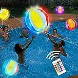 Pelota de waterpolo inflable con luz LED de 48 pulgadas, 16 colores de luz con 4 modos de luz, juegos de piscina para adultos y niños, ideal para la playa, la piscina, fiestas al aire libre