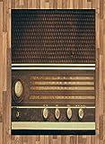 ABAKUHAUS Vintage Alfombra de Área, Antiguo Retro Estilo Años 60 Radio Tocadiscos Parlantes Botones Imagen, Ideal para Sala de Estar o Comedor Resistente a Manchas, 120 x 180 cm, Marrón