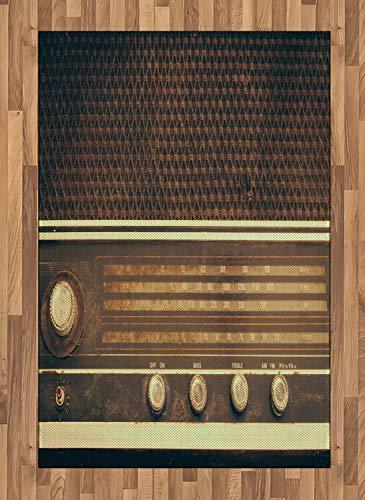 ABAKUHAUS Vintage Alfombra de Área, Antiguo Retro Estilo Años 60 Radio Tocadiscos...