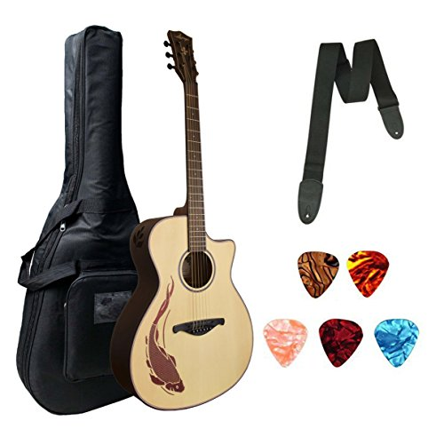 Larry's Professional Acoustic 41'' Jumbo Size Guitar With Bag Belt and Plectrums