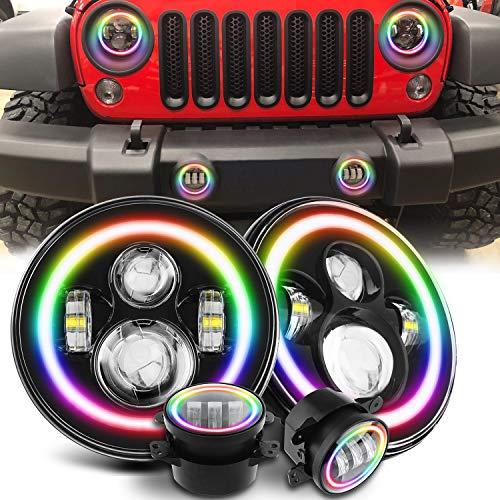 Exclusive 7  Rotating RGB Halo LED Headlights + 4  Fog Lights for J eep Wrangler 1997-2018 JKU JK Rubicon TJ LJ with APP