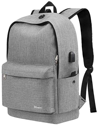Middle School Backpack, Anti Theft College Student Bookbag with USB Charging for Teen Girl Boy Men Women, Canvas Water Resistant Computer Daypack for Weekend Travel Camping Fit 15.6 inch Laptop,Grey