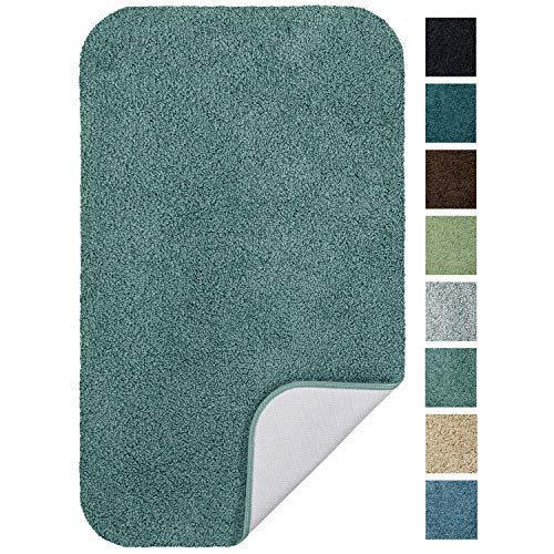 Maples Rugs Softec Non Slip Washable & Quick Dry Soft Bathroom Rugs [Made in USA], 23.5' x 39', Seafoam