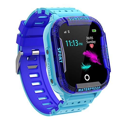PTHTECHUS Kinder Intelligente Uhr Wasserdicht, Smartwatch WiFi Tracker mit Kinder SOS Handy Touchscreen Spiel Kamera Voice Chat Wecker für Jungen Mädchen Student Geschenk (K22 Blau)