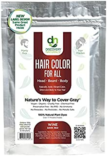 Hair Color For All Natural Hair Dye For Men & Women I 100% Natural & Chemical-Free Pure Hair & Beard Color, Wine Dark Red
