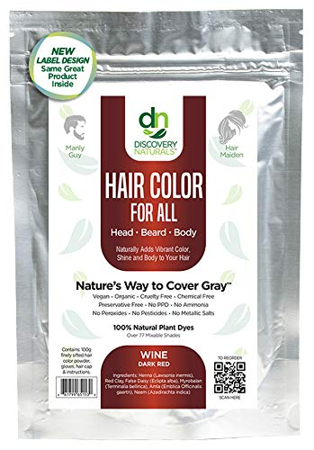 Henna Maiden VIBRANT WINE RED Hair Color: 100% Natural & Chemical Free