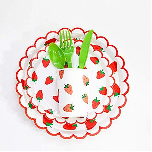 MAGRF Fruta Fresca de Verano patrón de Fresa Bandeja de Papel Taza de Papel Tenedor Cuchara vajilla Set Suministros para Fiestas
