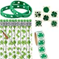 St Patricks Day Gifts for Kids Party Favors - 24 Pencils 24 Rubber Bracelets 100 Shamrock Stickers 36 Temporary Tattoos - Bulk Gift Prizes for Irish Day Accessories By 4E's Novelty