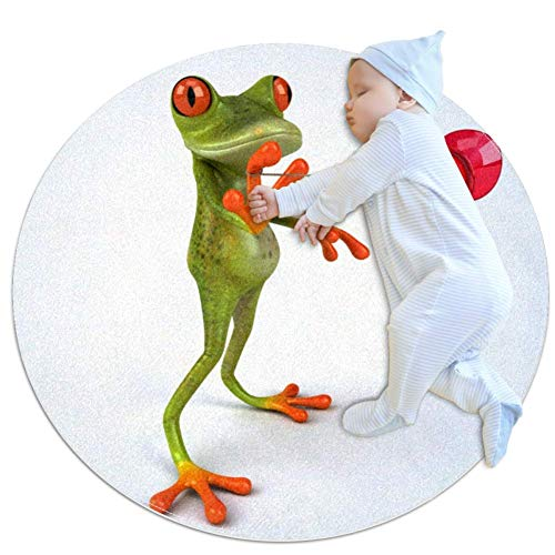 Yo Yo Playing Yo Nursery Round Rug for Kids Room Soft and Smooth Suede Surface Non-Slip Castle Tent Game Mat Best Gift for Your Kids 3feet 4inch