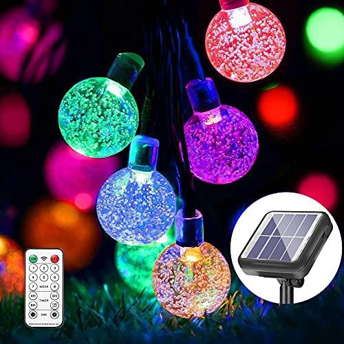 DHWELEC Solar Lichterkette (Upgrade), 11 Meter 60 LEDs für Innen & Außen mit Fernbedienung, wasserdichte Solar Lichterkette Aussen für Partykorationen, Halloween, Weihnachten, Garten, Zaun usw. (Bunt)