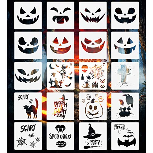 20 PCS Halloween Stencils Template Pumpkin Faces Stencil DIY Halloween Designs Reusable Plastic Craft Drawing Includes Sickle, Witch, Skeleton, Bat, Owl, Grave Pattern Stencils
