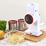 Vinsani Hand Held Cheese Grater Vegetable Slicer - Rotary Round Drum Grater Chopper with 3 Mandoline Interchangeable Stainless Steel Drums Strong Suction Base Red
