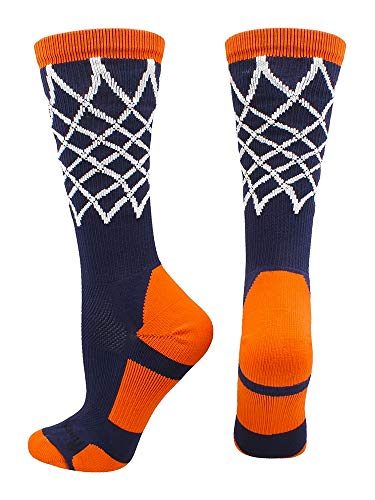 MadSportsStuff Crew Length Elite Basketball Socks with Net (Navy/Orange, Medium)