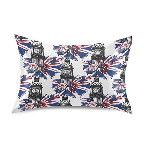 HaJie Funda de almohada de satén London Rose Union Jack Big Ben 100% poliéster, funda de almohada para cabello y piel, tamaño estándar 50,8 x 76,2 cm, 1 unidad