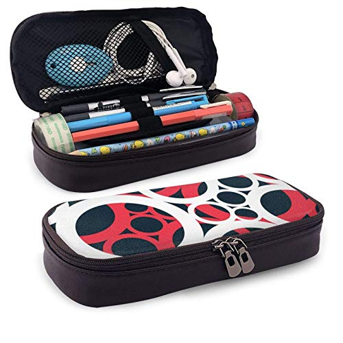 XCNGG Estuche para lápices neceser Red Circle ArtLeather Pencil case, Waterproof, Fashionable and Durable, can be Used for Students, Schools, Offices, Colleges