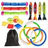 Kupton Pool Diving Toys for Kids, 4 Diving Rings / 4 Diving Torpedo Bandits / 3 Diving Sticks / 8 Underwater Treasures, Underwater Swimming Gift for Kids