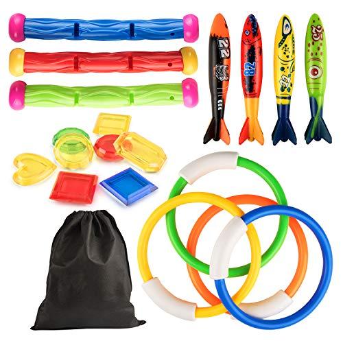 Kupton 19 Pcs Diving Pool Toy for Kids, 4 Diving Rings / 4 Diving Torpedo Bandits / 3 Diving Sticks / 8 Underwater Treasures, Underwater Swimming Gift for Kids