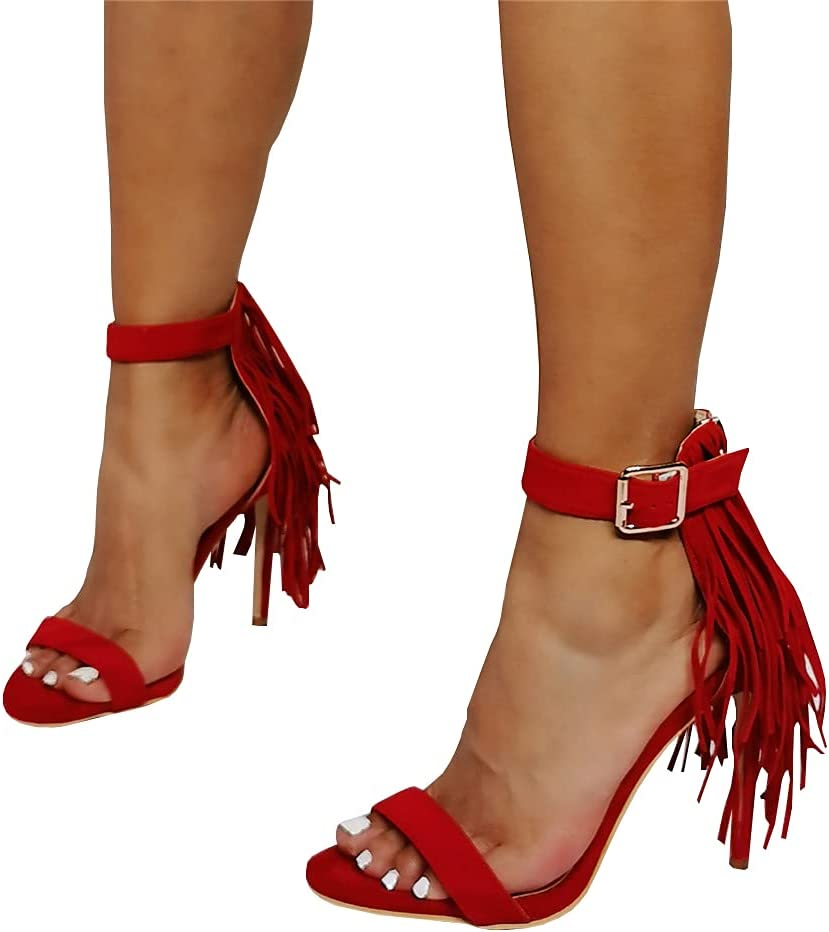 High Super special price Heels Sexy Stiletto Heeled Sandals with Tassels and La Gorgeous
