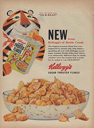 New from Kellogg's of Battle Creek Sugar Frosted Flakes ad 1953 Tony the Tiger L