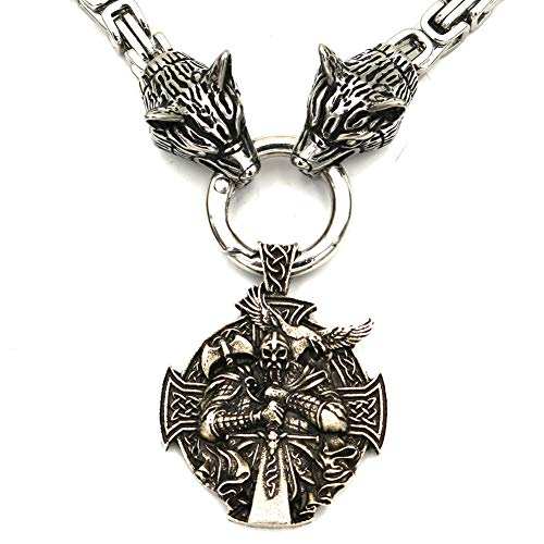 Norse Viking Amulets Necklaces, Mens Thor's Mjolnir Stainless Steel Odin warrior Pendants Wolf Head Chain Nordic Pagan Jewelry,A,60cm