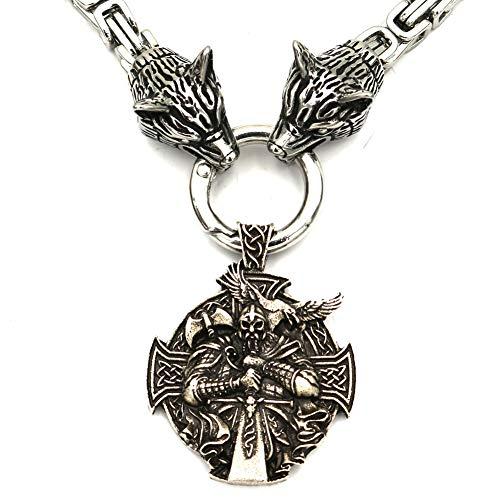 SBRTL Collares de amuletos Vikingos nórdicos, Colgantes de Guerrero Odin de Acero Inoxidable Mjolnir de Thor para Hombre, Cadena de Cabeza de Lobo, joyería pagana nórdica,A,50cm