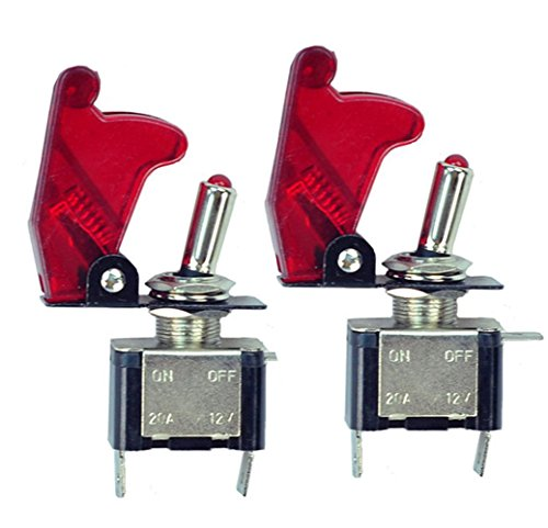 HOTSYSTEM 2x 12V 20A Auto KFZ Schalter SPST Wippschalter Ein/Ausschalter LED Anzeige Wechsel Switch Kippenschalter Rot