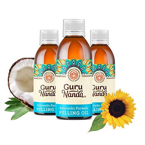 3 Pk GuruNanda Oil Pulling, Natural Mouthwash, Ayurvedic Blend of Coconut, Sesame, Sunflower, Peppermint Oils. A Refreshing Oral Rinse - Helps Bad Breath, Healthy Gums + Whitens Teeth. (8.45 fl. oz).