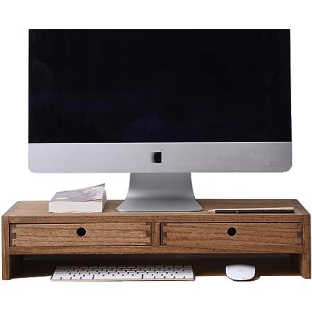 Kirigen Support de bureau en bois pour ordinateur portable, imprimante, télévision - 2 niveaux - Naturel