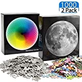 2 Sets Jigsaw Puzzles, Including Rainbow Puzzle Round Jigsaw Puzzle and Full Moon Puzzle Gradient Round Puzzle, 1000 Pieces for Each, Educational Intellectual Puzzle Game for Kids Adults