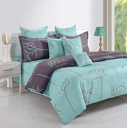 Swayam 200 TC Abstract Print Cotton Extra Large Bed Sheet with 2 Pillow Cover - Green, Grey