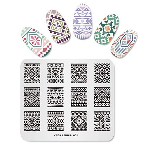 Alexnailart Plaques d'estampage Nail Art Modèle d'image avec style bohémien Afrique Modèles de totem style minorité pour bricolage Manucure Imprimer Nail Design Nail Stamping Outils de transfert