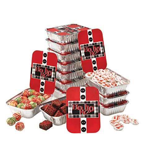 Gias Kitchen Christmas Cookie Tins 24 Piece Set of 12 Foil Pans with Lids Perfect Cookie Tins with Lids for Gift Giving- Santas Belt Foil Rectangular