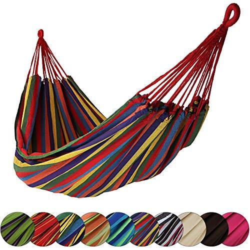 BB Sport Tuch Hängematte 200 x 140 cm max. Belastbarkeit 200 kg Tragetasche 1-2 Personen Camping Garten Balkon Terasse Wetterfest, Farbe:Jamaica