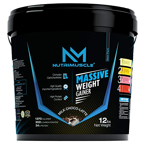 NUTRIMUSCLE MASSIVE WEIGHT GAINER - 12LBS - 5.44 KGS - CHOCO LATTE - FOR WEIGHT GAIN - MADE IN INDIA