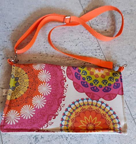 Tasche Handtasche FOLDOVER Klapptasche Schultertasche HANDMADE beige-bunt