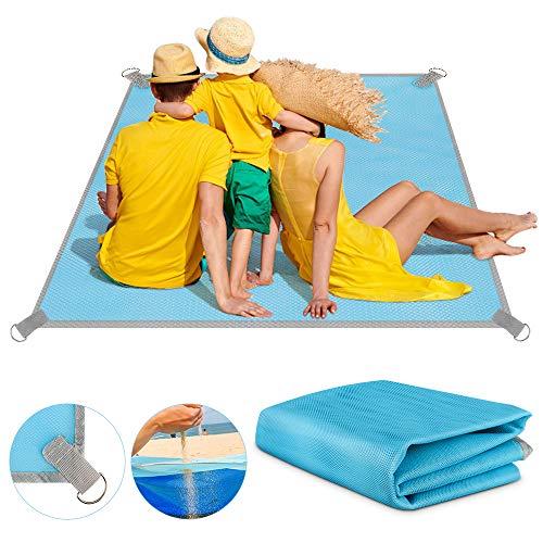 Venga amigos Stranddecke Picknickbedarf Strandmatte sanddurchlässig Ultraleicht Sandabweisend Strandmatte Outdoor Campingdecke für Reisen Wandern Camping(200 x 200 cm)