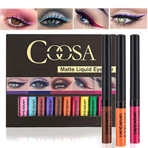 Coosa Matte Colorful Liquid Eyeliner 12Colors Long Lasting Waterproof Eyeliner Professional Bright-colored Eyeliner Pen Set - 12 PCS