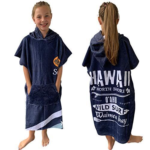 Homelevel Teenager Kinder Surf Poncho 8-13 Jahre Poncho Badeponcho Strandtuch Handtuch Cape Baumwollmischung Velours Frottee Badetuch mit Kapuze Blau Surfing