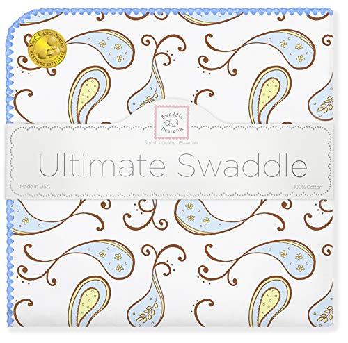 SwaddleDesigns Ultimatives Pucktuch, Premium Baumwollflannell, Dreifaches Paisleymuster, Pastellblau