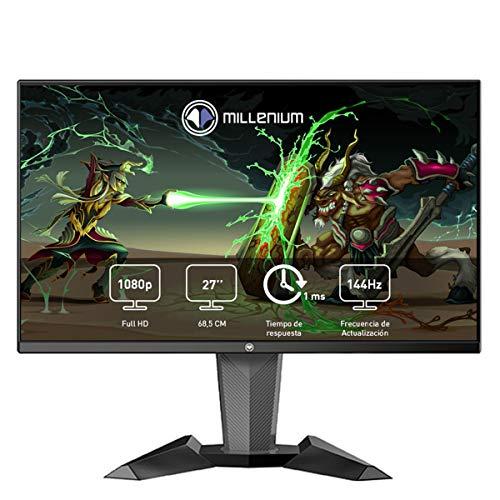 """Millenium MD27PRO - Monitor Gaming para e-Sport de 27"""" QHD 144hz con 1ms (2560 x 1440p, TN, 16:9, 3 x HDMI, Display Port, Sin Marco, Ajustable en Altura y Giro) Color Negro"""