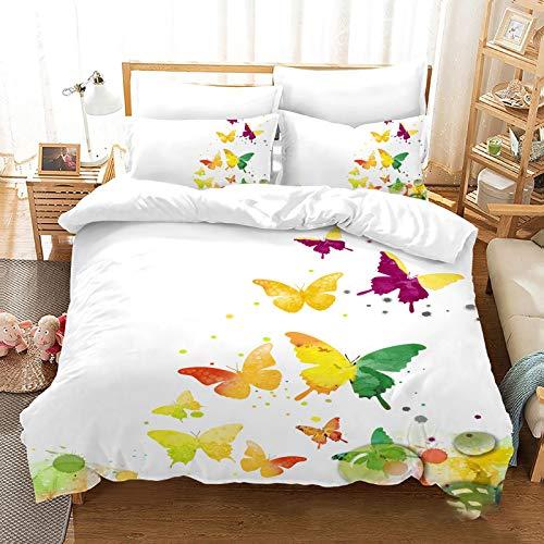 QXbecky 3D Butterfly Bedding Soft Microfiber Quilt Cover Pillowcase 3 Piece Set Hidden Zipper Double Single Bed Reversible
