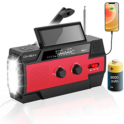 Emergency Radio Hand Crank Solar - OMEW 6000mAh NOAA Weather Radio, Survival Radios Portable AM FM with Flashlight, Cell Phone Charger, Motion Sensor Lamp, SOS Alarm for Home Supplies and Emergencies