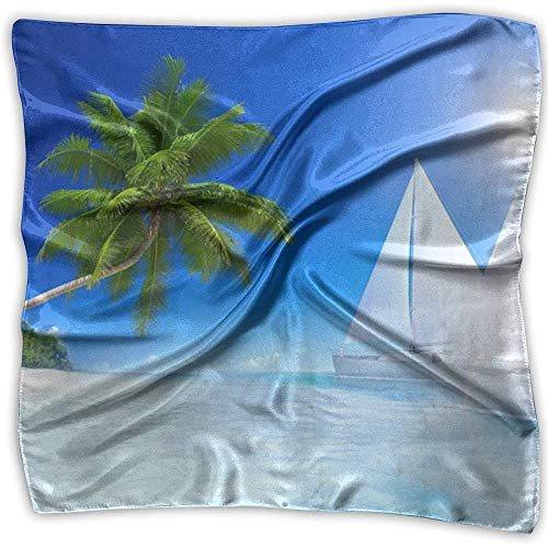 Merle House Ocean Tropical Palm Trees Boote Lady Printed Square Schal Kopfschmuck Hals Satin Schals Wrap Shawl Halstuch