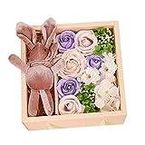 Meilily Kunstblumen Rosen-Duftseifen in Geschenk-Box mit Kaninchenpuppe, Rose Seife Blume Rosenduft...