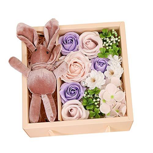 Meilily Kunstblumen Rosen-Duftseifen in Geschenk-Box mit Kaninchenpuppe, Rose Seife Blume Rosenduft Badeseife Rose in Geschenkbox Hochzeit/Geburtstags/Valentinstag/Thanksgiving/Weihnachten