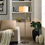 Modern Floor Lamp for Living Room, Bedrooms, 62'H Brushed Steel Finish, Pull-Chain Switch, Contemporary Family Room or Office Standing Floor Lamp