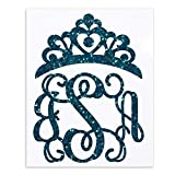 Glitter Princess Monogram Decal with Crown
