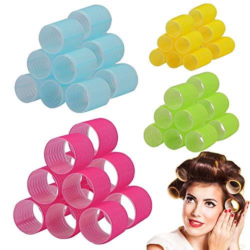 24 Stk. Self Grip Hair Klettverschluss-Set, Hair Rollers Clips Self Holding Rollers Salon Friseur Lockenwickler für Salon Barber Hair Styling