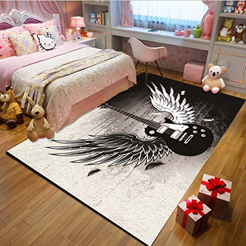 Nachtteppich, Mädchen Prinzessin Zimmer Dekoration Schwarz Und Weiß Flügel Gitarre Gedruckt Teppich, Cartoon Kinder Kleinkind Spielzeugmatte 80cmx150cm