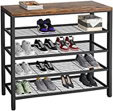 Homfio Shoe Rack, Industrial Shoe Storage Organizer, Large 5-Tier Metal Shoe Rack Shelves with Wood Board, Entryway Table for Hallway, Living Room, Closet, Bedroom